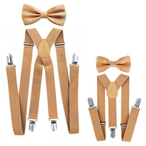 axy® Vater-Sohn Partnerlook Hosenträger mit Fliege Set für Herren-Damen-Kinder (Beige (Herren 2,5cm + Kinder Hosenträger Breit 2,5cm))