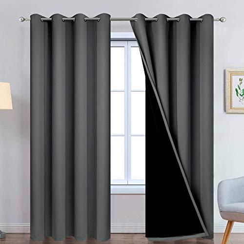 Yakamok 100% Dark Gray Blackout Window Curtain Panels Full Light Blocking...