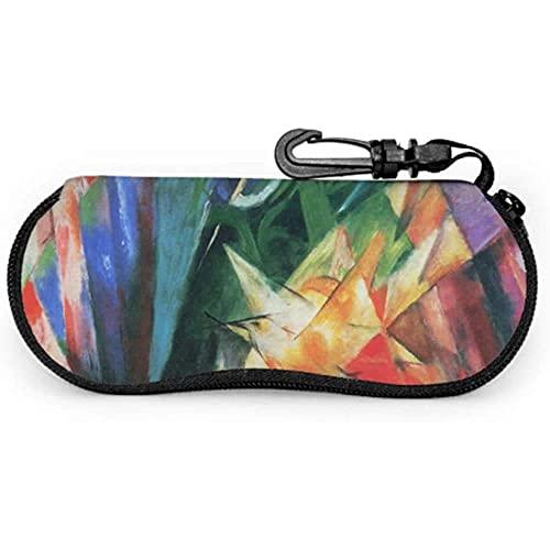 Tcerlcir Estuche para gafas Pintura Franz Marc Arte abstracto Pintor alemán Estuche para anteojos Estuche para gafas de sol Estuche para gafas de sol Estuche para viaje, 17x8cm
