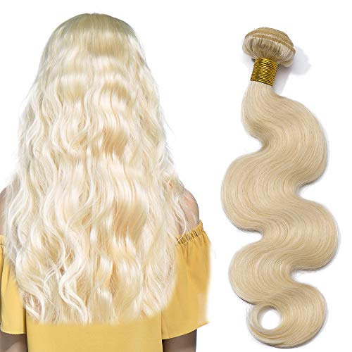 40cm Extension Matassa Capelli Veri Tessitura Biondi Mossi Body Wave #60 Biondo Platino 100g Una Ciocca/pack 100% Remy Human Hair Virgin