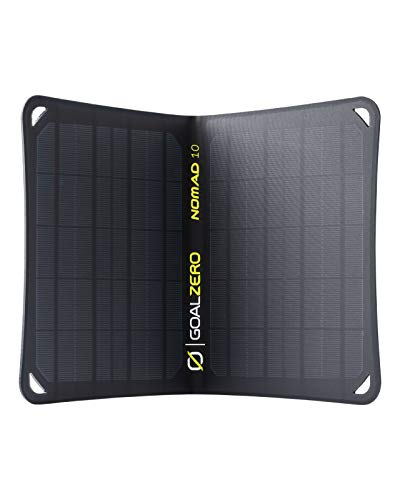 Goal Zero Nomad 10, Foldable Monocrystalline 10 Watt Solar Panel with USB Port, Portable Solar Panel Backpacking, Hiking and Travel. Lightweight Backpack Solar Panel Charger with Adjustable Kickstand