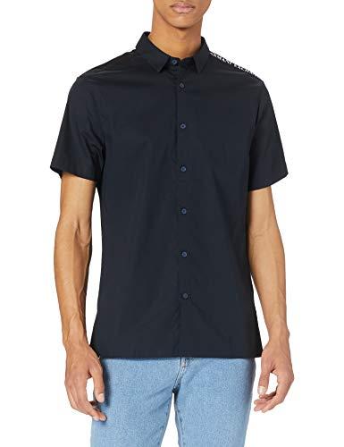 ARMANI EXCHANGE Recycled Stretch Cotton White/Black Shirt Camicia, Navy/Bianco/Nero, XL Uomo