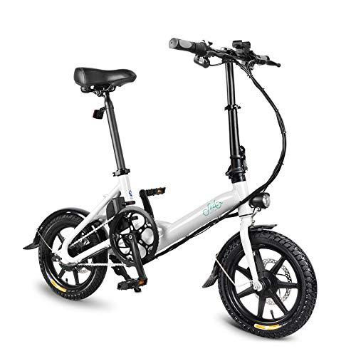 OIYINM77 250W Faltbare Elektrische Fahrrad 14 Zoll Erwachsene 3 Geschwindigkeit Ultralight FIIDO System Fahrrad, Batterie Lithium ION 36V 7,8Ah (Weiß)