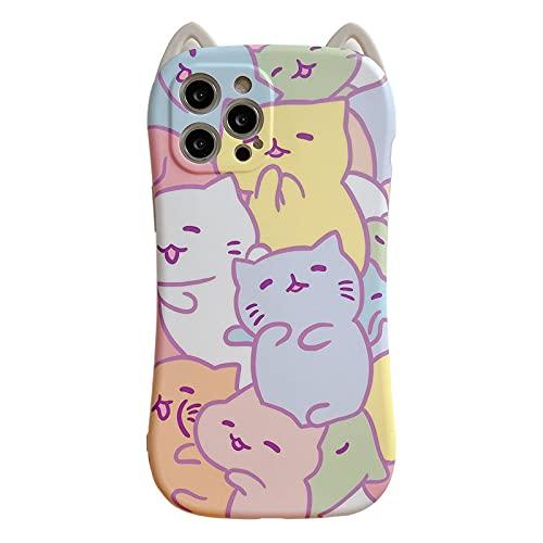LIUYAWEI Divertido Color Cute Cat 3D Phone Case para iPhone 12 11 Pro MAX 7/8 Plus X XR XS MAX Contraportada Fundas de Silicona Suave Dibujos Animados, Style1, para iphoneXSMax
