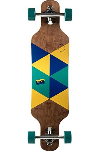 TITUS Longboard Triangle DT Kids : Brown-Blue-Yellow / 8.25 Größe 8.25, Unisex, Jugendliche und Erwachsene, Profi und Anfänger, Longboard mit großem Fahrspaß, Longboard