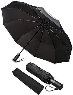 Paraguas Plegable, phixilin Compacto y Resistente al Viento Paraguas con Apertura y Cierre Automático, Prueba de Viento y Agua Anti UV Durable Paraguas de Viaje con Mango Antideslizante y Cómodo - Neg