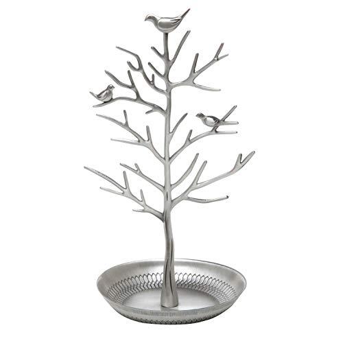 Exhibición/Soporte/Soporte de joyería - Pendiente de árbol de Plata Antigua Collar Pulseras Porta Joyas Organizador Colgante Torre de Estante