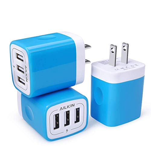 USB Charger Adapter Plug, Ailkin 3 Pack/3.1A(Purple) 3-Port Home Travel Fast Charging Station Plug Cube Wall Replacement for Phone X/8/7/Plus, Samsung Galaxy Series, Huawei, HTC, LG, Kindle etc.