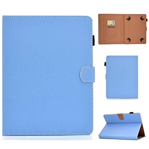 MEMETIAT Funda para tablet PC de 7 pulgadas, color sólido, universal, con ranuras para tarjetas y soporte (color: azul)