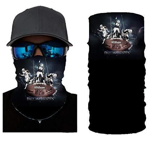PAWANG Bandana 3D Multifuncional sin Costuras Logotipo del Equipo de fútbol de la NBA FIFA Decoración de la Cara de Halloween 50x25cm