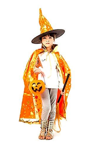 Oranje - mantel - heksenhoed - kleine heks - goochelaar - tovenaar voor kinderen - kostuum - vermomming - accessoires - carnaval - halloween - versierd met gouden sterren - idee verjaardagscadeau kerst cosplay