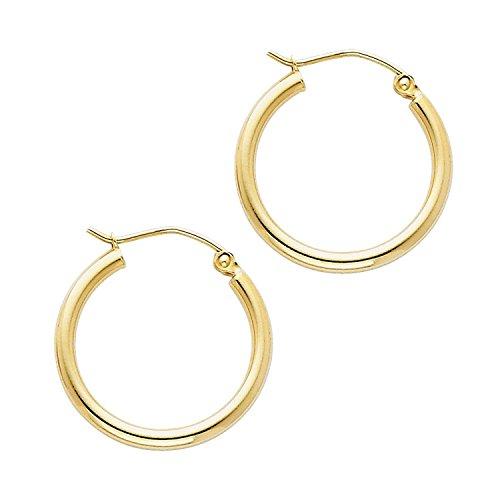 14 Karat 585 Gold Hochglanz Creolen Ohrringe Gelbgold - Breite 2 mm - Große Wählbar (18 Millimeter)