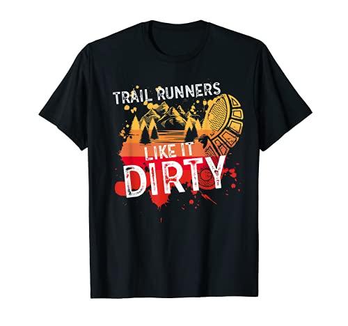 Corredores de trail divertidos les gusta sucio retro trail running Camiseta