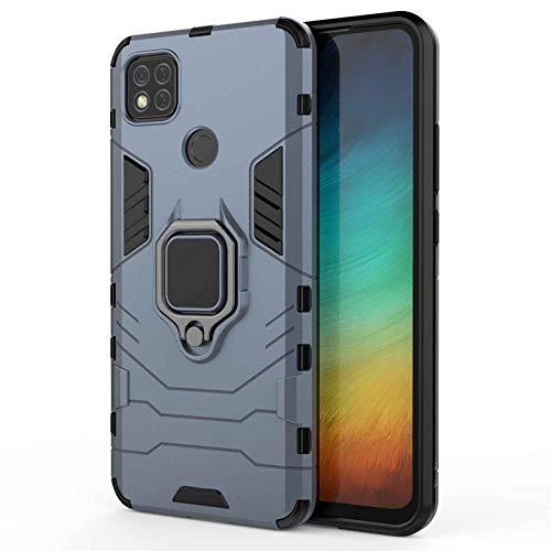 LEYAN Funda para Xiaomi Redmi 9C NFC, PC+TPU Silicona Tough Armor Protección Carcasa, Robusta Antigolpes Estuche con 360° Magnético Anillo Kickstand, Azul