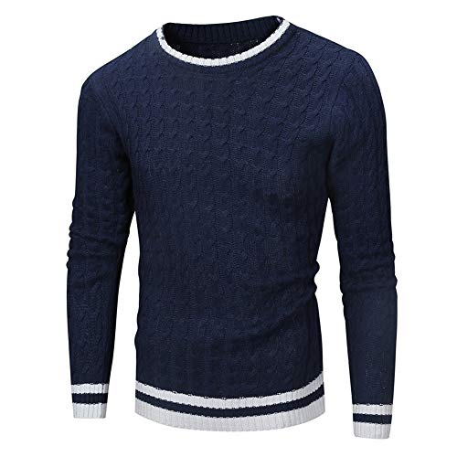 Men Sweater Men Knitting Long Sleeve Business Casual Boutique Slim Men Sweaters Autumn and Winter Warmth Young Round Neck Men Jumper All-Match Outdoor Men's Jumper C-Navy. M