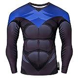 Nessfit Superhero Mens Compressione Top Manica Lunga Palestra Base Layer Allenamento Fitness Shirt Allenamento Maglia Calda Supereroe 5 S