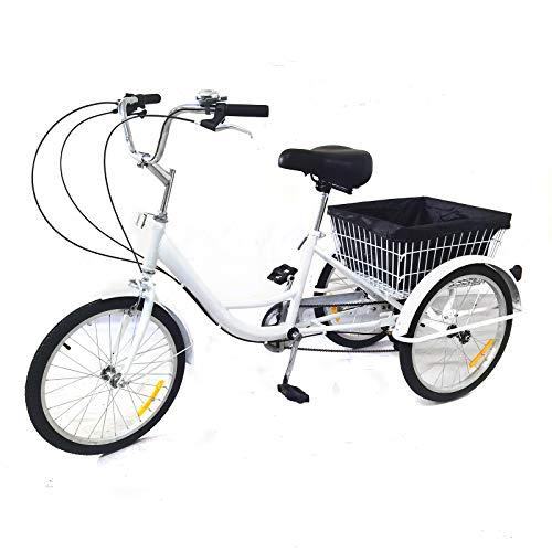 Triciclo de 20 pulgadas para adultos, 8 velocidades, con cesta, 3 ruedas para adultos, para triciclo, para adultos, adultos, deportes, ciudad, urbana (20 pulgadas, blanco)