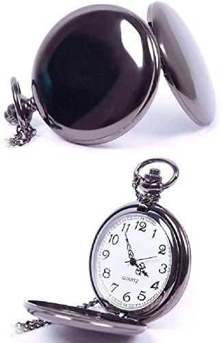 eachbid Nuevo Reloj de Bolsillo Clásico Negro con Esfera Blanca y Acero Vintage.
