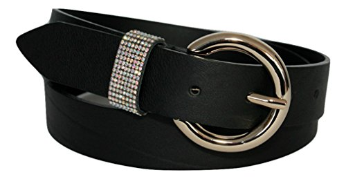 ITALOITALY Cintura in Vera Pelle Italiana, Nera, Alta 3cm, Donna, Passante con Strass, Artigianale, Made in Italy, Accorciabile (Lunghezza totale cm 115)