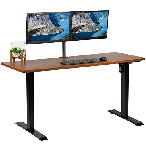 VIVO Electric Height Adjustable 60 x 24 inch Stand Up Desk, Dark Walnut Solid One-Piece Table Top, Black Frame Standing Workstation, Home & Office Furniture Sets, DESK-KIT-B06D