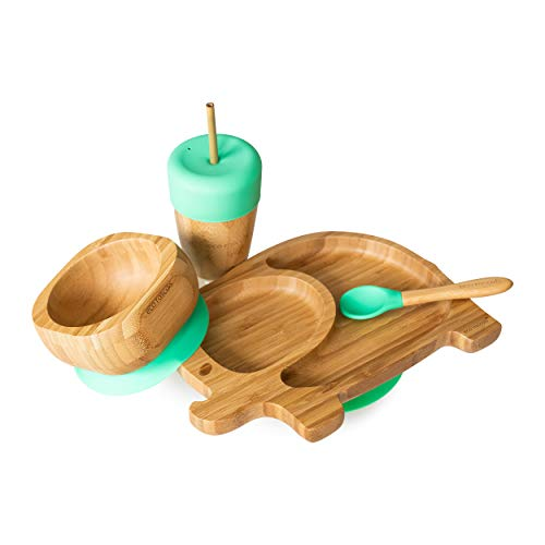 Eco Rascals 793591755526 Children's Plate, Bamboo, Green