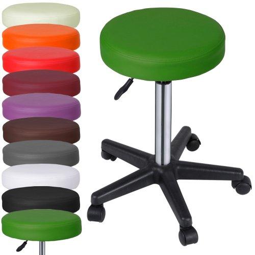 MIADOMODO Sgabelli Regolabili con Ruote Colore Verde Set da 1