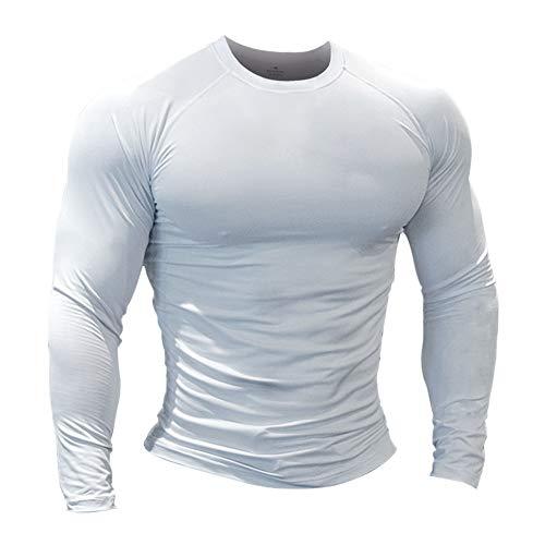 Hombres Fitness y Ejercicio Compresión Capa Base Manga Corta Camiseta Culturismo Tops de Manga Larga 9309 Blanco L