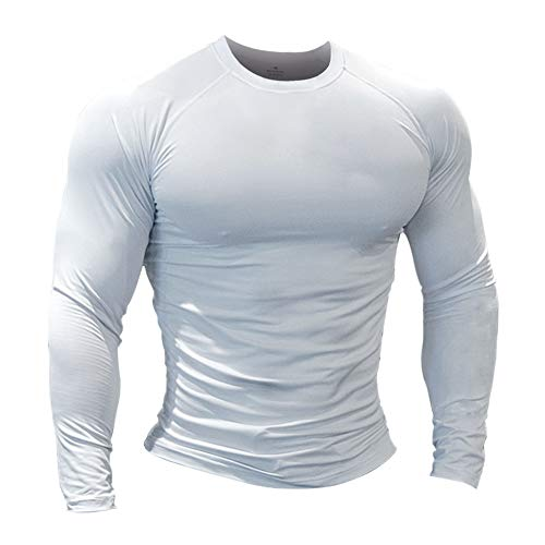 Hombres Fitness y Ejercicio Compresión Capa Base Manga Corta Camiseta Culturismo Tops de Manga Larga