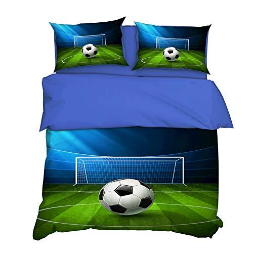AYMAYO Kinder-Bettwäsche-Set 135x200 cm Fußball - Jungen, Männer und Jugendliche - Fussball-Motiv Sport-Fans-Bettwäsche, Mikrofaser -mit Marken-Reißverschluss