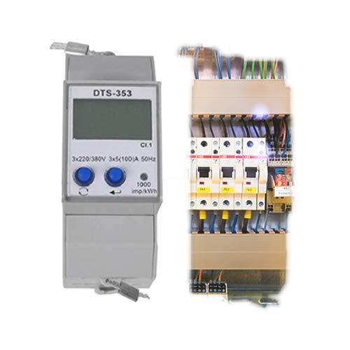 Digitaler Stromzähler 3-Phasen-Energiezähler DIN-Hutschiene kW, kWh,Hz,Volt eQ3 RS485 MODBUS Kraftstrom Starkstrom ZZ4