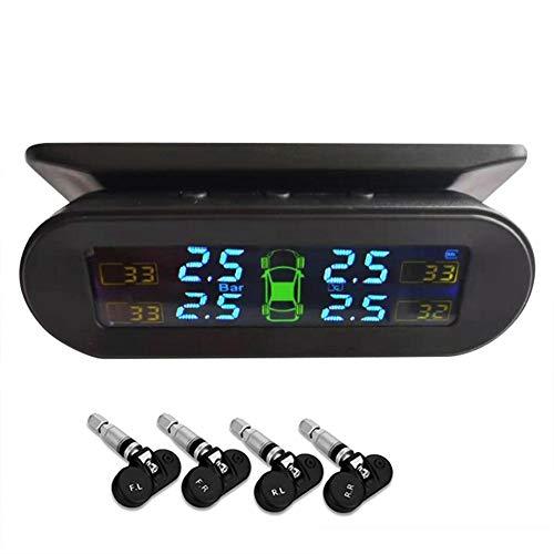 TPMS-Reifendrucküberwachungssystem, Solarenergie und USB aufgeladen, Echtzeit-Reifendruck mit 4 internen Sensoren und 6 Alarmmodi