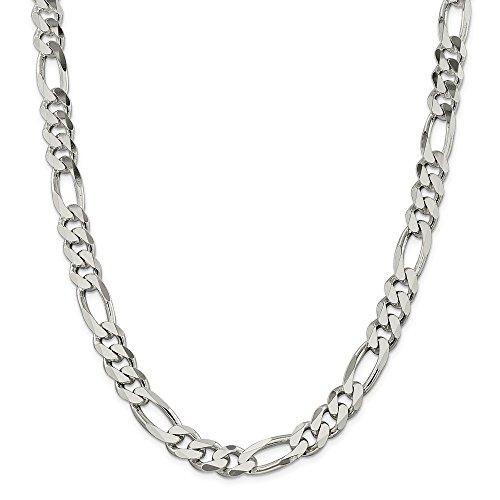 Collar de cadena Figaro de plata de ley 925, 10,75 mm, 66 cm, para hombres y mujeres