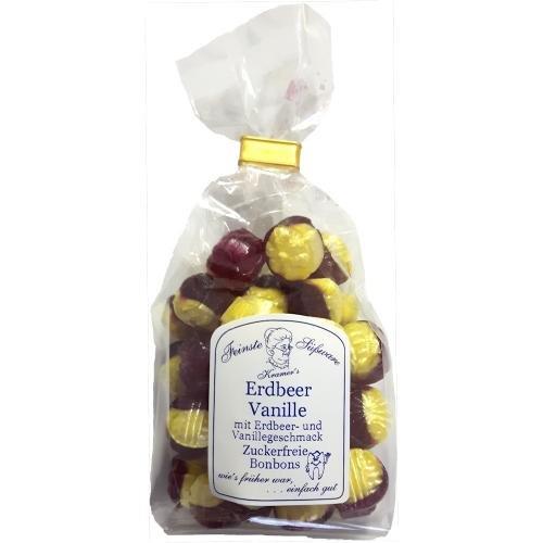 Zuckerfreie Erdbeer-Vanille Bonbons, 120g