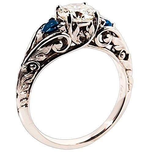 heDIANz Anillos, Artículo Nupcial del Regalo De La Joyería del Compromiso del Anillo Hueco con Incrustaciones del Diamante Artificial Redondo del Brillo Azul Oscuro 7