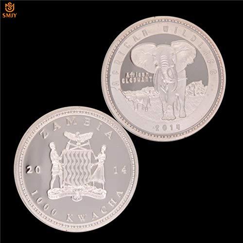 Animales Salvajes Protegidos Elefante AfricanoZambia 1000 KWACHA Moneda de Oro Conmemorativa Plateada de Plata para Regalo de Colección de Altura, SMJY-244