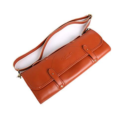 NINAINAI Western Food Knife Storage Bag Portable Chef Tool Bag Leather Belt Zipper Commercial Tool Storage Bag Coffee Color Tableware Bag 10-piece Set With Pocket Cutlery Storage Bag