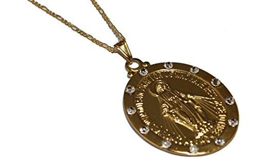 Virgen Milagros con circonita cúbica – Medalla de Nuestra Señora Milagrosa chapado en oro de 18 quilates Medalla Enchapado con cadena de 55,88 cm
