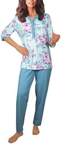 DF218 Damen Pyjama Schlafanzug Baumwolle-Jersey Lang (44/46)