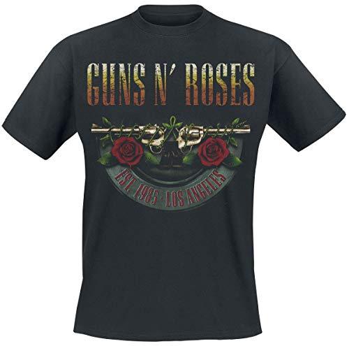 Guns N' Roses Logo And Bullet Europe Tour 2017 Uomo T-Shirt Nero S 100% Cotone Regular