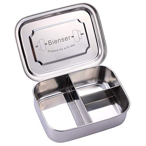 BIENSER Edelstahl Brot-Dose I Lunch-Box I PLASTIKFREI I BPA Frei I 1000ml I Spülmaschinen-Fest mit DREI Fächern und Trennwand