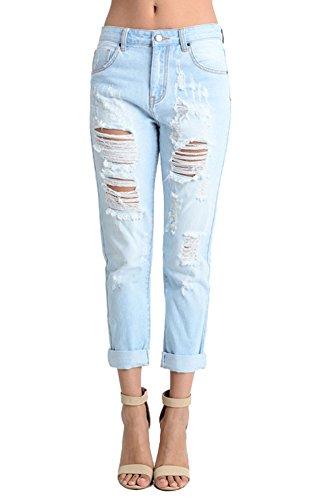 American Bazi Slashed Low-Rise Boyfriend Jeans AJB752 - Light Blue - Small - H1E