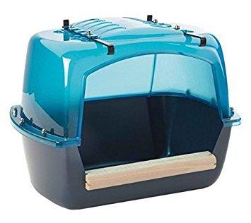 Savic Extra große Vogeltränke House–Best für Papageien & Großsittiche–verstellbarer Sitzstange Größen–auch eine Badewanne für Chinchillas und Degus–Ein geräumiges Badehaus zu cool Off