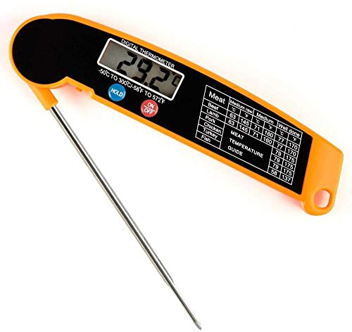 Lebensmittelthermometer, digitales Kochthermometer, elektrisches Küchenthermometer mit Sonde, sofort ablesbar, am besten für BBQ, Geflügel, Fleisch, Holzkohlegrill, Milch und Kochen
