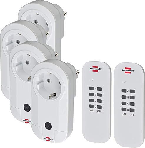 Brennenstuhl Funkschalt-Set RC CE1 4001 (4er Funksteckdosen Set Innenbereich, mit Handsender und Kindersicherung) weiß + Zusatz Fernbedienung