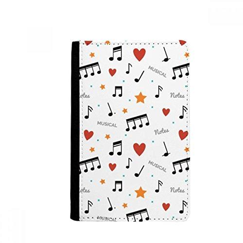Muzieknotities met sterren harten paspoorthouder reisportemonnee hoesje kaart portemonnee