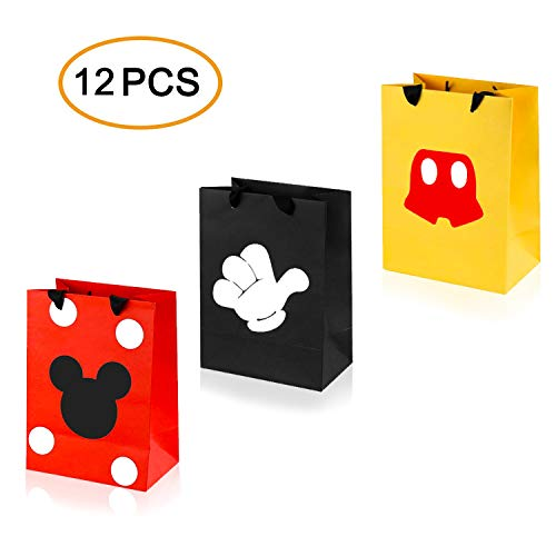 LAOZHOU 12 STÜCKE Mickey Party Favor Taschen, Mickey Treat Candy Goodie Geschenk Taschen für Baby Birthday Party Supplies Babyparty Mickey Theme Party Dekoration