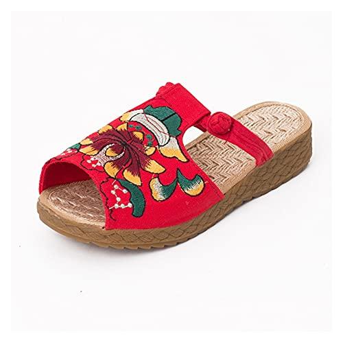 QUNHU Zapatillas de Lino para Damas, Zapatos Folk-Personalizados Vintage Bordados de algodón y Zapatillas de Lino, Boca de Pescado Sandalias de Fondo de Fondo Interior Zapatos de casa al Aire Libre
