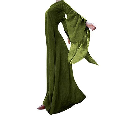 Aiserkly Damen Herbst Winter Mittelalter Vintage Retro Maxi Kleid Solide Langarm Gothic Kostüm Ballkleider Abendkleid Renaissance Kostüm bodenlangen Cosplay Karneval Partykleid Grün L