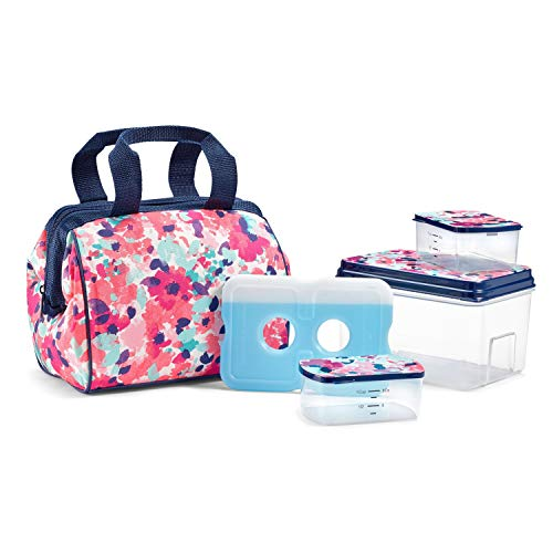 "Fit & Fresh 902TG1389 Charlotte Lunch Bag Kit, 9"" x 6"" x 8"", Pink Floral Wash"