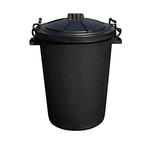 CrazyGadget® Kunststoff-Mülltonne, 85 Liter, extragroß, mit Deckelverschluss, strapazierfähig, Vorratstonne – für Abfall, Tierfutter usw. Schwarz